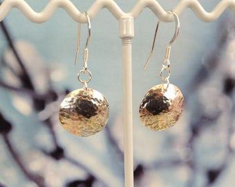 Sterling Silver Disk Earrings - embossed