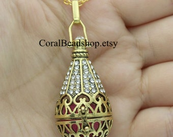 x0006-1pcs Finished Handmade Crystal Locket Necklace Essential Oil Diffuser Necklace