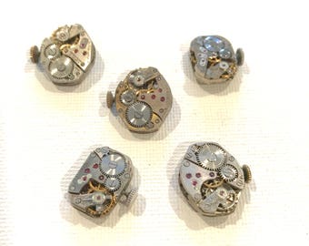 5 watch movements for crafting, jewelry making, steampunk, watch parts lot