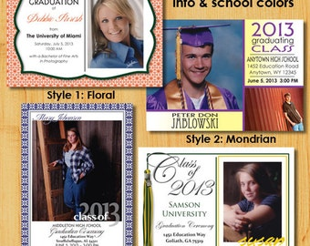 Personalized Graduation Invitations - Customized with School Colors, Photo, etc.