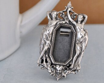 VINTAGE FIND miniature sterling silver Victorian style picture frame, Greek goddess,