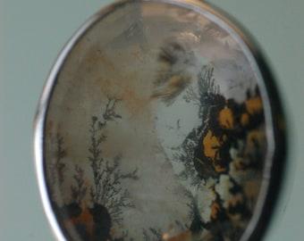Dendritic Quartz Pendant with Sterling Silver