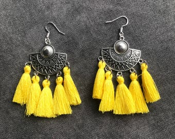 Ethnic earrings mustard yellow agate