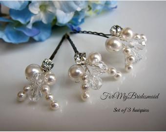 Bridal hair piece. Wedding hair pins. Leaves. Hair vines. Ivory gold. Pearl hair pins. Wedding accessories. White Ivory pearls. Crystal pins
