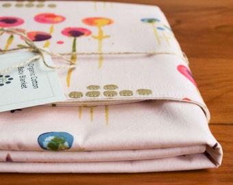 Pink Baby Blanket; Modern Floral Receiving Blanket; Baby Girl Shower Gift; Organic Blanket; New Baby Gear; Organic Cotton Crib Blanket; POEM