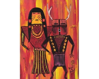 Kachina Tribal Acrylic Painting, Native American, Southwestern Folk Art, Red Yellow Orange, Dance Home Decor, Wall Hanging, Giclee Print