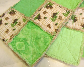 Brown Bears and Mixed Greens Flannel Ragtime Baby Quilt