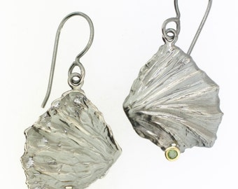 Fan Lichen Gemstone Earrings Woodland Jewelry Sterling Silver 18k Gold Recycled Metal Nature Inspired