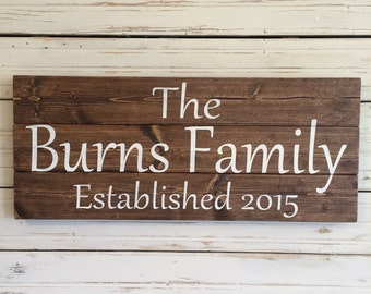 Personalized Family Established Hand Painted Wood Sign