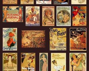Art Nouveau Posters Collage Sheet - Warm Golden Colors - Magpie Mine - Digital Download - Printable