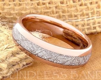 Tungsten Wedding Ring Band Meteorite Ring Mens Women's Wedding Ring Anniversary Ring Dome 6mm Rose Gold Matching Ring Set Perfect Gift New