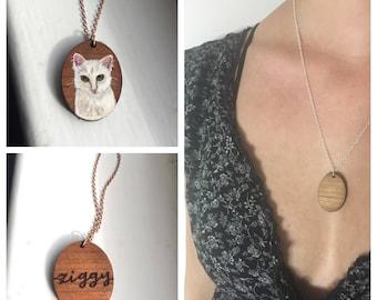 Personalized Pet Portrait Necklace, Custom Pet Portrait Jewelry, Pet Name Wood Charm Necklace, Personalized Jewelry
