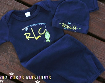 Fishing Baby Gown - Personalized Baby Gown - Coming Home Outfit - Baby Boy Gown - Monogrammed Gown - Baby Shower Gift Set - Gown and Hat Set