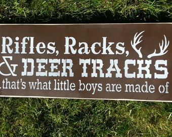 rIfLeS rAcKs DEER tRaCkS-Hand Painted Rustic Wood Sign-Distressed-Wall Decor-Home Decor