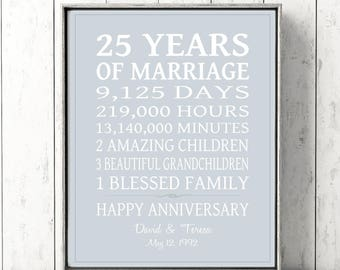 25th Anniversary Gift,  PERSONALIZED 25th Wedding Anniversary Gift for PARENTS, Silver Anniversary 25 Years, Custom Art Print or Canvas