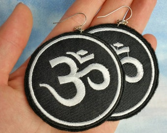 OM Embroidered Earrings