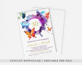 EDITABLE PDF, Butterfly Birthday Invitation, Purple Birthday Invite, 21st, 30th, 40th, 50th, 60th, Purple and Gold, Pink, Party, Printable