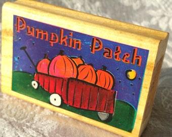 Pumpkin Patch Rubber stamp wagon, pumpkins stamp, Halloween rubber stamp, Scrapbook Pumpkin Patch Stamp, Halloween Scrapbook, Autumn stamp