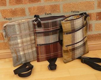 Messenger Bag, Cross Body Bag, Ipad Case, Zip Top Pouch Bag, Earthy coloured Bag collection, Brown Tweed bag