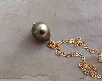 Gold Tahitian Pearl Necklace - Tahitian Pearl Pendant - Tourmaline Necklace - Pearl Drop Necklace - Green Pearl Necklace- June Necklace