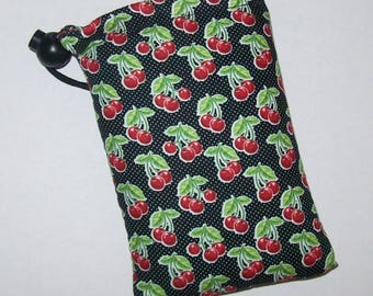 "Pipe Pouch, Cute Cherries, Pipe Case, Pipe Bag, Padded Pipe Pouch, 420, Smoking Accessory, Cannabis, Rockabilly, Stoner Gift - 5"" DRAWSTRING"