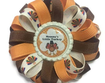 Mommy's Little Turkey Hair Bow, Thanksgiving Bow, Loopy Hair Bow, Handmade Hair Bow, No Slip Hair Bow, Girls Accessories, Gifts for Her