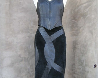 Beautiful Vintage Black Suede and Leather Pencil Skirt