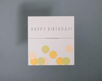 Friendship Bracelet - Happy Birthday - Sterling Silver Friendship Bracelet on Silk - Light Pink