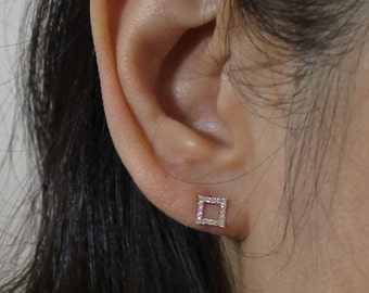 14K solid gold square cz earrings,14k open square earrings,14K minimalist earrings, 14k square stud, 14k everyday earrings, 14k dainty stud