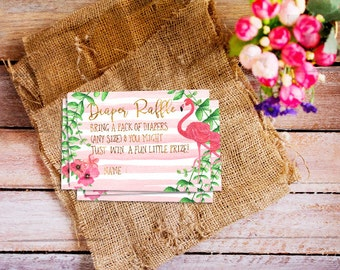 Flamingo Diaper Raffles, baby shower diaper raffle, diaper raffle ticket, baby shower diaper raffle, printable diaper raffle card, pink