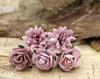 5 Pink Bow Mulberry Paper Flower Hair Pins , Bridal Hair Pins, Hair Bobby Pins,rustic wedding,Bridal Hair Accessories (FL375)