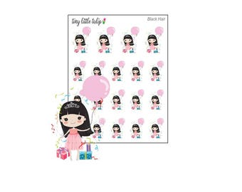 Planner Stickers Doodle Girl Birthday