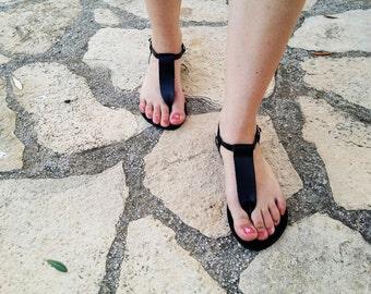 Black Leather Sandal,Black Thong Sandal,Flat Sandal,Summer Flats