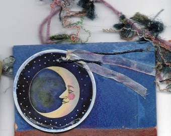 original art  aceo drawing assemblage envelope moon fairy copper