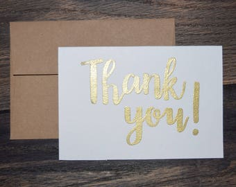 Set of 10 Hand Lettered Thank You Card Set - Thank you, Grazie, Merci, Mahalo, Gracias - Assorted Calligraphy Embossed Thank You Cards