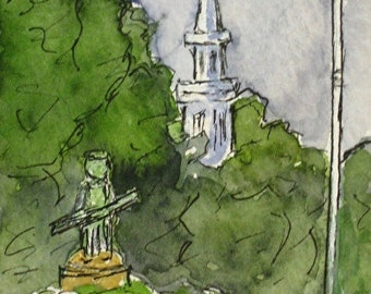 Historical Painting Lexington Green Massachusetts Painting Artist Trading Card Watercolor Pen Ink ACEO Gift Set Minute Man Landmark Original