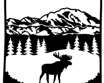 Moose Mountain Tree Scene Decal, Moose Sticker, Window, Tumbler, Vinyl Decal Sticker, Laptop Decal, Water Bottle - You Choose Color and Size