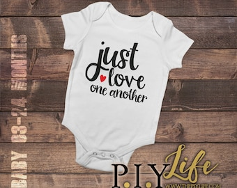 Kids   Just love one Another Kids Bodysuit DTG Printing on Demand