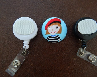 Fabric Covered Button for Clip on Retractable Badge Reel -  French Girl with Beret