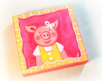 original acrylic painting on wood Violet Piggie gift for girl