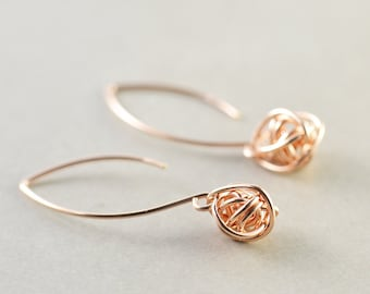 Rose Gold Knot Earrings, Long Knot Earrings, Bridesmaid Gift, Tie The Knot