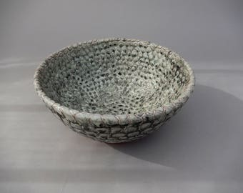 Unique Decorative Carved Bowl, Handmade Ceramic Charcoal Gray Pottery Bowl, Small Textured Carved Bowl