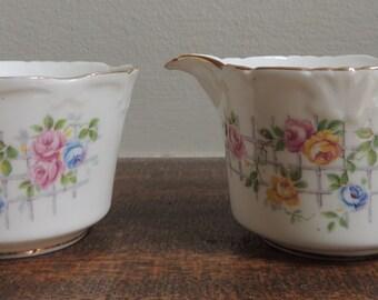 Collingwoods Bone China Creamer and Sugar Cup, English China, Floral Sugar and Creamer Set