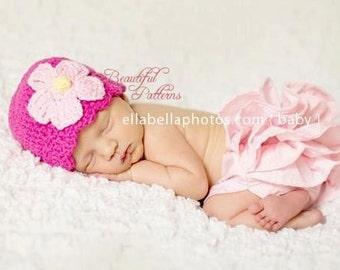 Crochet Hat Pattern - Newborn Crochet Hat - Daisy Flower Hat - Flapper Hat PDF Pattern - Newborn Baby to Adult - Photo Prop Instant Download