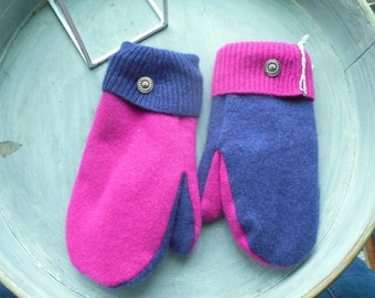Recycled Sweater Mittens, Cashmere Mittens, Sweater Mittens, Felted Wool, Fleece Lined Mittens, upcycled, Gift