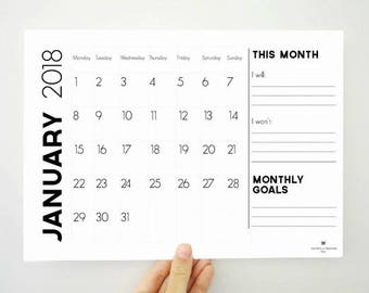 Monthly Goals Printable, Printable Calendar, 2018 Calendar, Monthly Calendar, 12 Month Calendar, 2018 Planner, Notepad, Dorm Decor, PDF