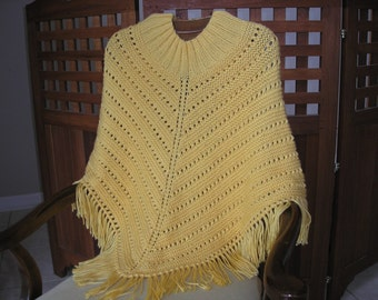 Knitted Ladies Poncho - Sunshine