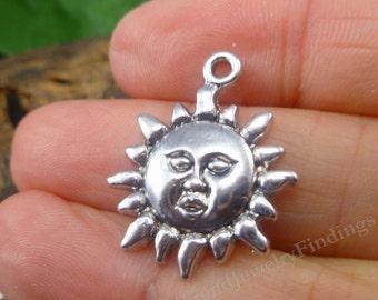 20 Silver Sun Charms - Antique Tibetan Charms - Summer Theme - Silver Findings Lot - MC0056