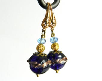 Earrings color Navy Blue and gold, baroque style