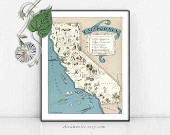 Art de carte Californie carte impression Digital Download - imprimable carte vintage pour le cadrage, totes, oreillers & cartes - photo